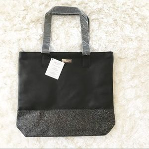 Black Faux Leather Glitter Jimmy Choo Tote Bag NWT